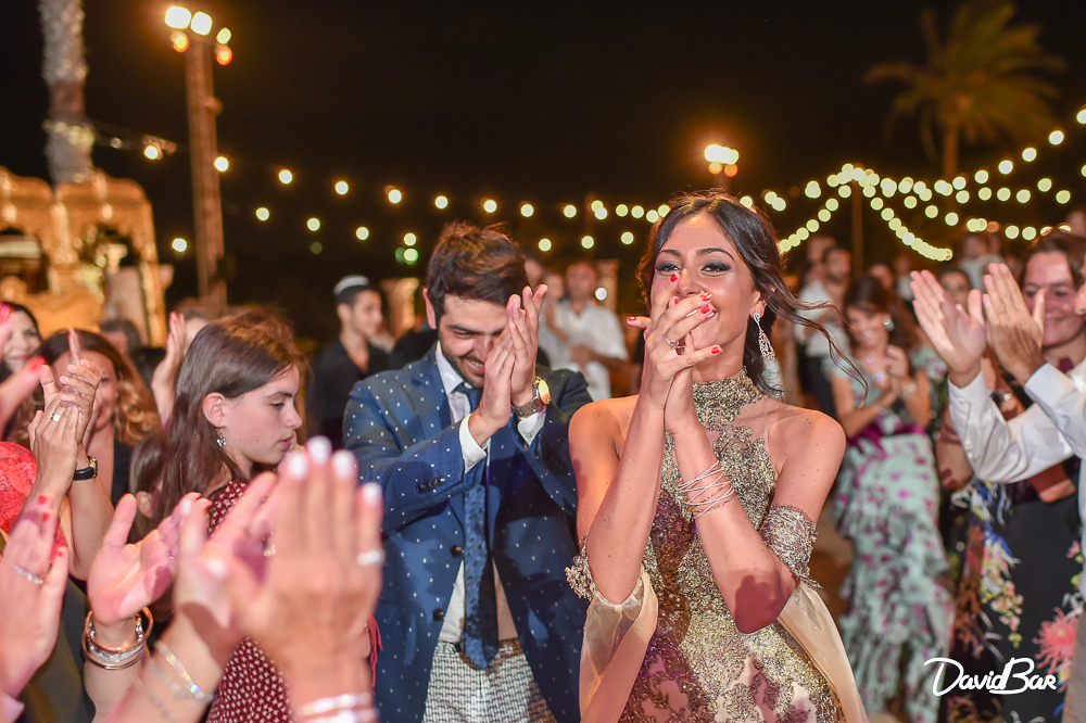 Bride showing element of happiness and surprise
