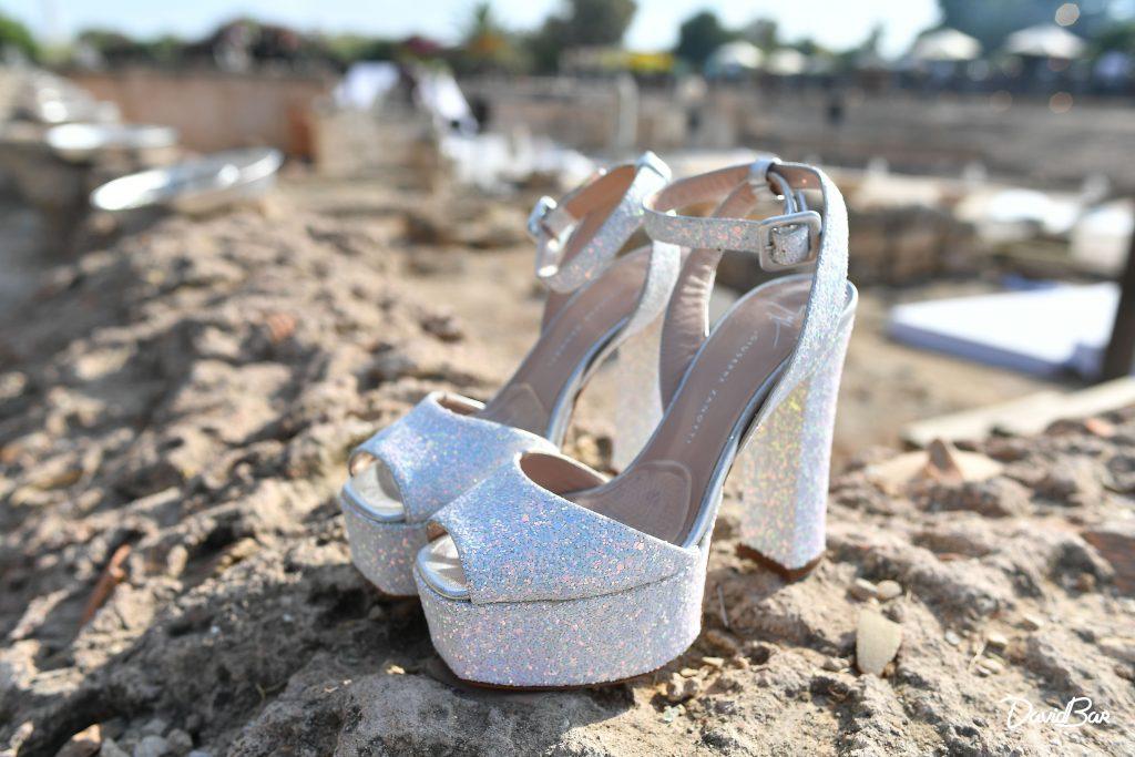 Designer Silver slippers for bride.