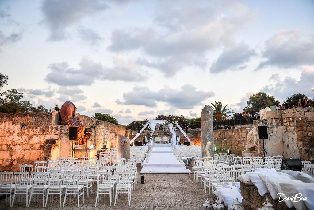 Caesaria wedding just before sunset