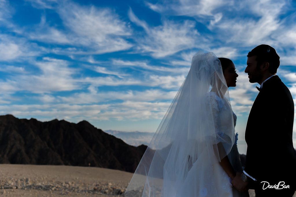 Darkened FIlter of desert wedding