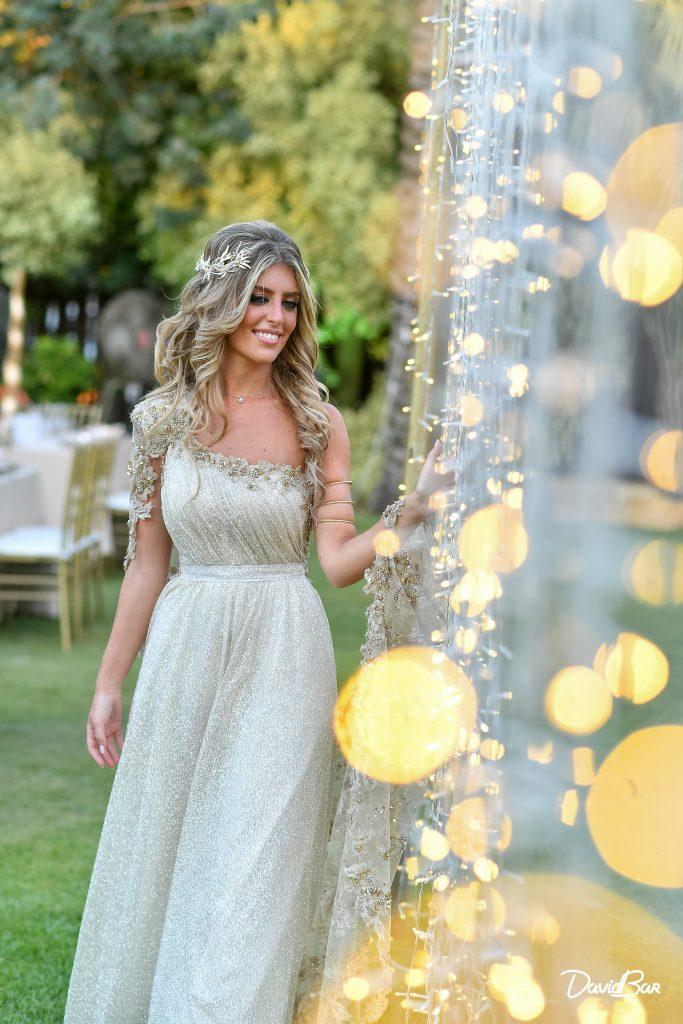 Bridal shot against curtain